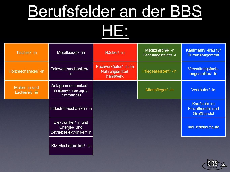 Berufsfelder an der BBS HE: Tischler/ -in Holzmechaniker/ -in Maler/ -in und Lackierer/ -in Metallbauer/ -in Feinwerkmechaniker/ - in Anlagenmechaniker/ - in (Sanitär-, Heizung- u.