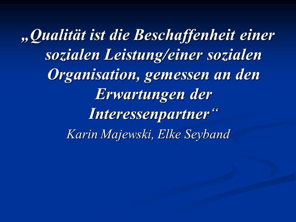 Qualität ist die Beschaffenheit einer sozialen Leistung/einer sozialen Organisation, gemessen an den Erwartungen der Interessenpartner Karin Majewski,