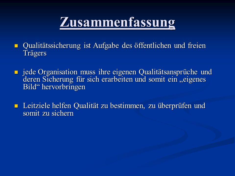 Zusammenfassung Qualitätssicherung ist Aufgabe des öffentlichen und freien Trägers Qualitätssicherung ist Aufgabe des öffentlichen und freien Trägers