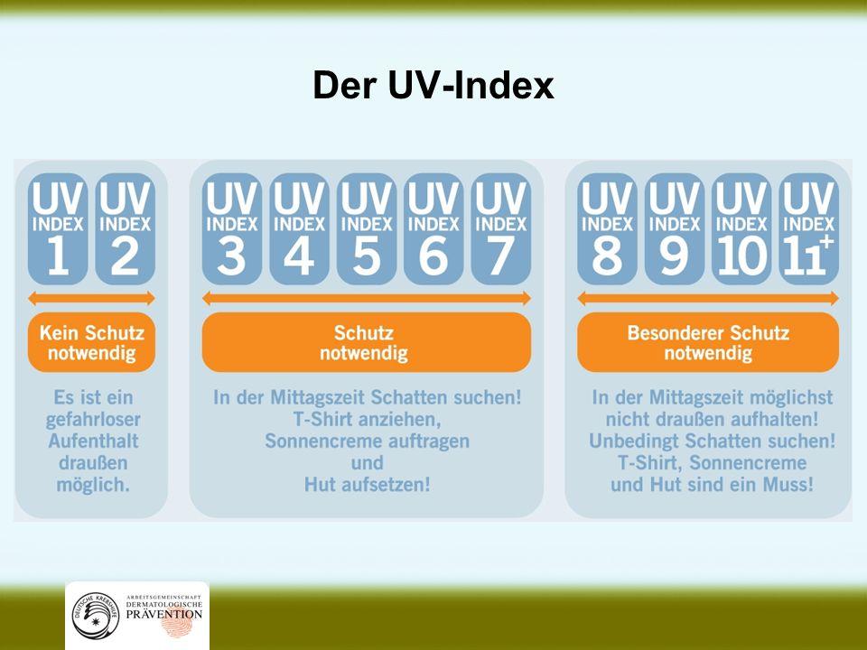 UV-Strahlung ist messbar Der UV-Index gibt die Stärke der UV-Strahlung auf der Erde wieder.