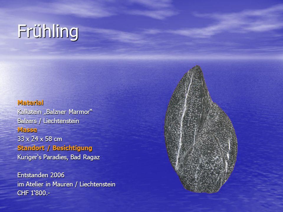 Frühling Material Kalkstein Balzner Marmor Balzers / Liechtenstein Masse 33 x 24 x 58 cm Standort / Besichtigung Kurigers Paradies, Bad Ragaz Entstand