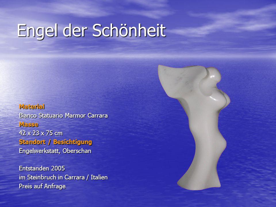 Engel der Schönheit Material Bianco Statuario Marmor Carrara Masse 42 x 23 x 75 cm Standort / Besichtigung Engelwerkstatt, Oberschan Entstanden 2005 i