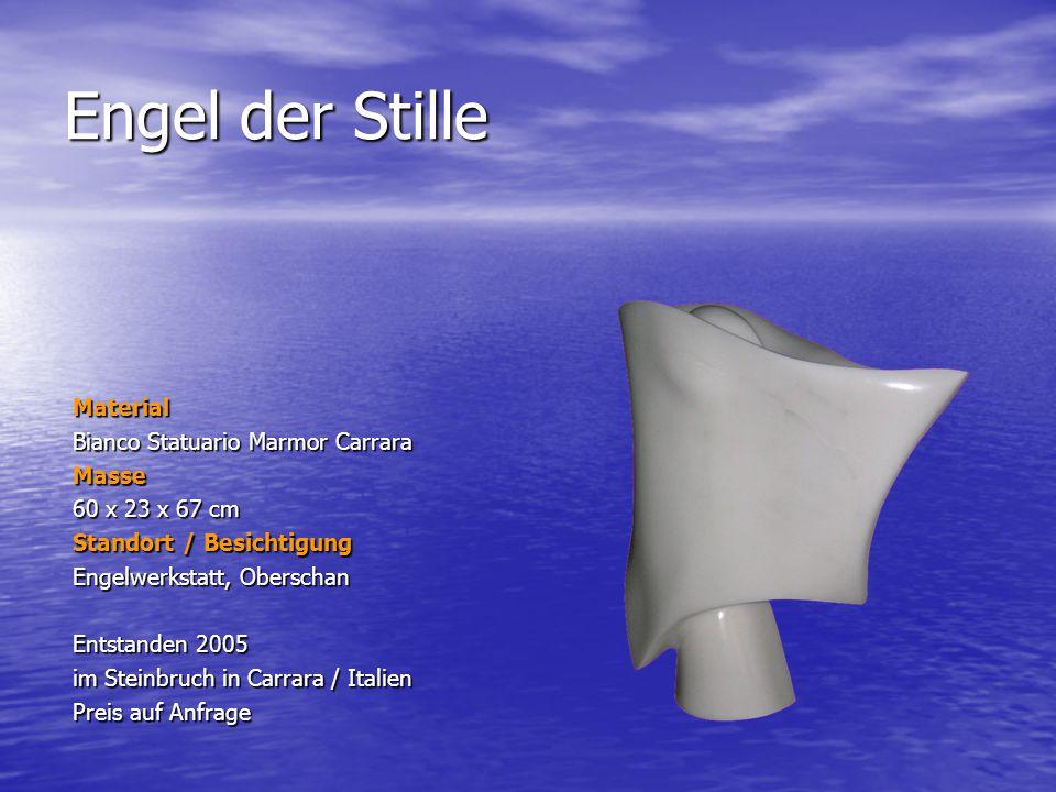 Engel der Stille Material Bianco Statuario Marmor Carrara Masse 60 x 23 x 67 cm Standort / Besichtigung Engelwerkstatt, Oberschan Entstanden 2005 im S