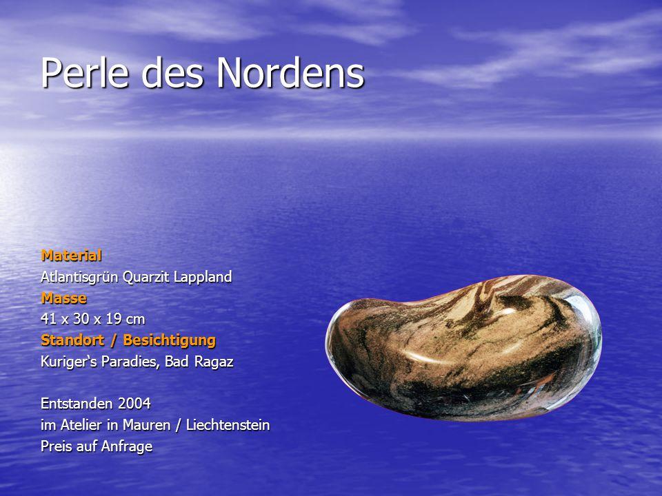 Perle des Nordens Material Atlantisgrün Quarzit Lappland Masse 41 x 30 x 19 cm Standort / Besichtigung Kurigers Paradies, Bad Ragaz Entstanden 2004 im