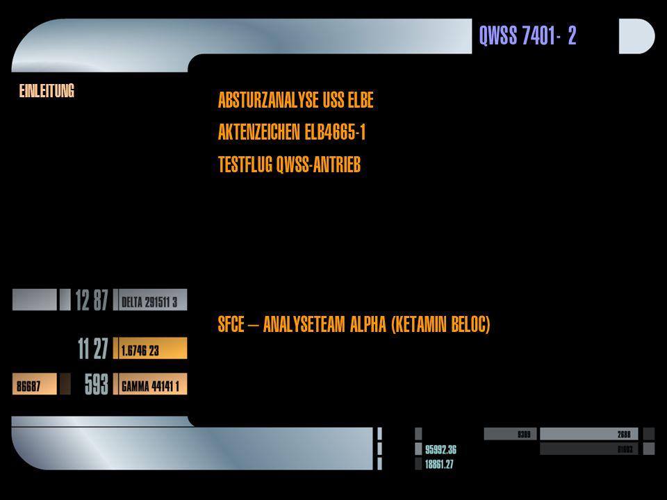 QWSS 7401-2 Einleitung AbsturzAnalyse USS Elbe Aktenzeichen ELB4665-1 Testflug QWSS-Antrieb SFCE – Analyseteam Alpha (Ketamin Beloc)