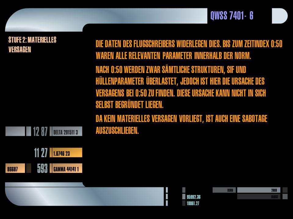 QWSS 7401-6 Stufe 2: Materielles versagen Die Daten des Flugschreibers widerlegen dies.