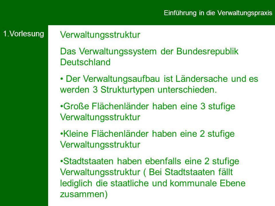 1.Vorlesung Einführung in die Verwaltungspraxis Verwaltungsstruktur Das Verwaltungssystem der Bundesrepublik Deutschland Der Verwaltungsaufbau ist Ländersache und es werden 3 Strukturtypen unterschieden.