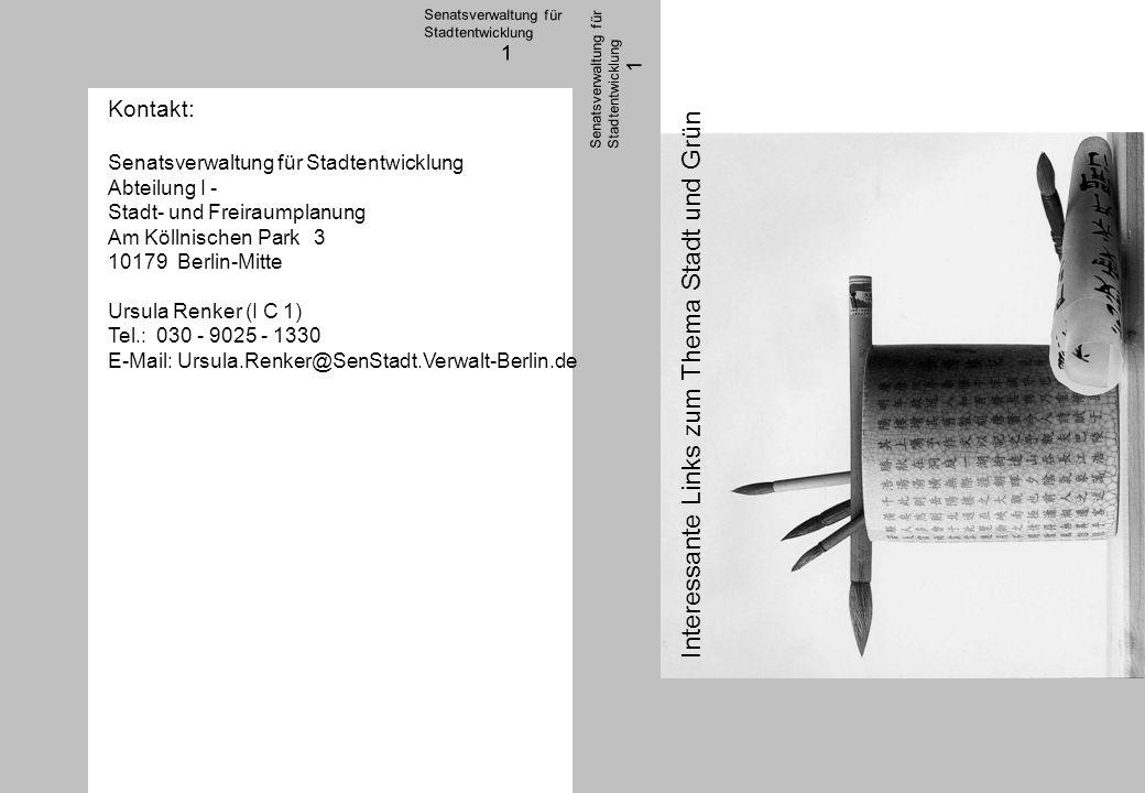 1 http://www2.senstadt.verwalt-berlin.de/umwelt/stadtgruen/ - Mehr als 2.500 öffentliche Grünanlagen, Grünzüge und Stadtplätze unterschiedlicher Größe und Gestalt prägen das grüne Berlin und bieten vielfältige Erholungsmöglichkeiten in der Stadt.