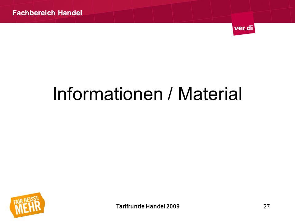 Fachbereich Handel Informationen / Material Tarifrunde Handel 200927