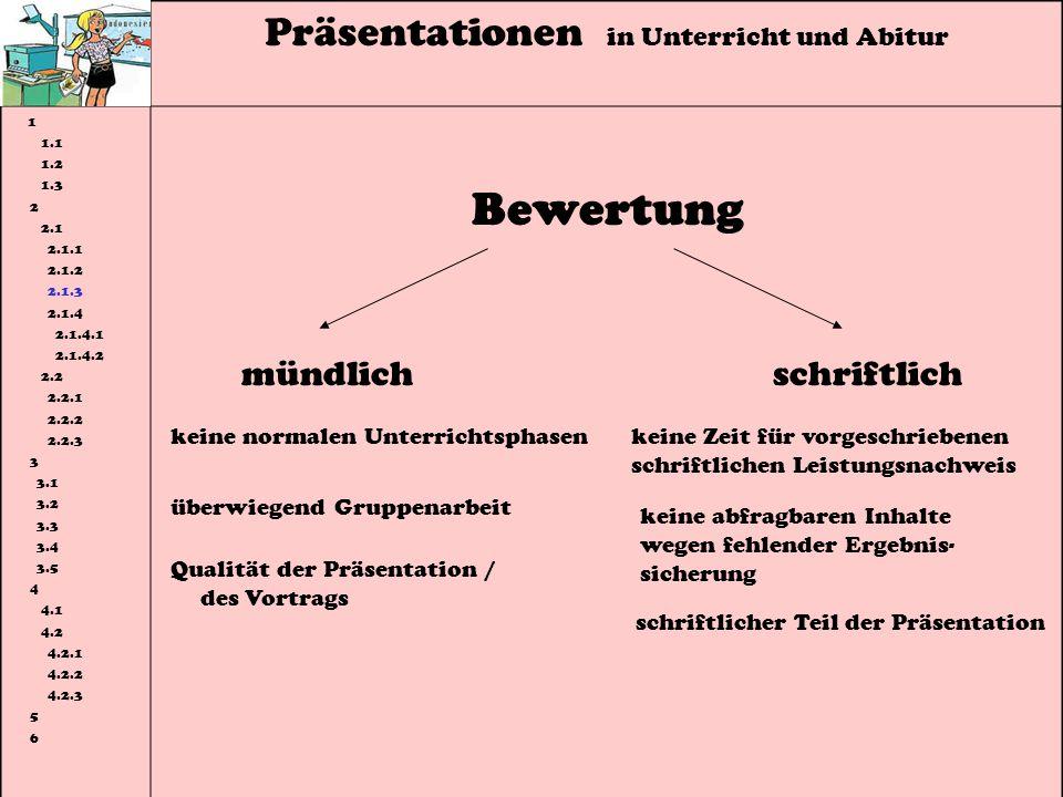 Präsentationen in Unterricht und Abitur 1 1.1 1.2 1.3 2 2.1 2.1.1 2.1.2 2.1.3 2.1.4 2.1.4.1 2.1.4.2 2.2 2.2.1 2.2.2 2.2.3 3 3.1 3.2 3.3 3.4 3.5 4 4.1