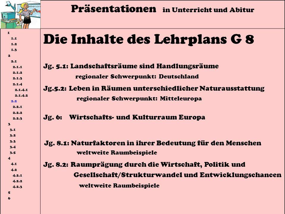 Präsentationen in Unterricht und Abitur 1 1.1 1.2 1.3 2 2.1 2.1.1 2.1.2 2.1.3 2.1.4 2.1.4.1 2.1.4.2 2.2 2.2.1 2.2.2 2.2.3 3 3.1 3.2 3.3 3.4 3.5 4 4.1 4.2 4.2.1 4.2.2 4.2.3 5 6 Die Inhalte des Lehrplans G 8 Jg.
