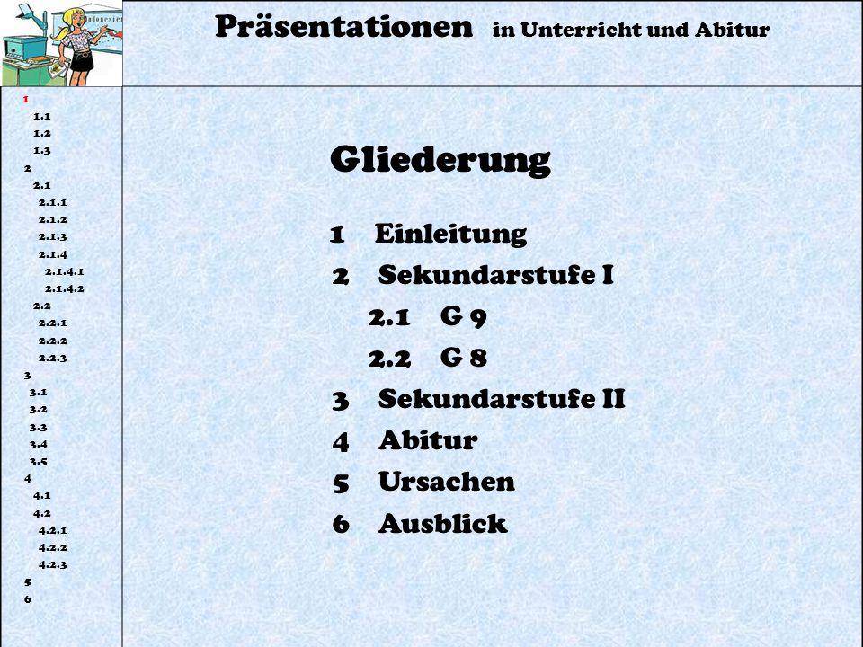 Präsentationen in Unterricht und Abitur 1 1.1 1.2 1.3 2 2.1 2.1.1 2.1.2 2.1.3 2.1.4 2.1.4.1 2.1.4.2 2.2 2.2.1 2.2.2 2.2.3 3 3.1 3.2 3.3 3.4 3.5 4 4.1 4.2 4.2.1 4.2.2 4.2.3 5 6 Gliederung 1 Einleitung 2 Sekundarstufe I 2.1 G 9 2.2 G 8 3 Sekundarstufe II 4 Abitur 5 Ursachen 6 Ausblick