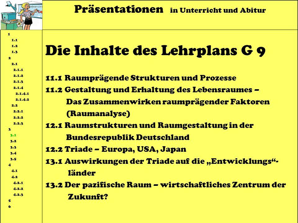 Präsentationen in Unterricht und Abitur 1 1.1 1.2 1.3 2 2.1 2.1.1 2.1.2 2.1.3 2.1.4 2.1.4.1 2.1.4.2 2.2 2.2.1 2.2.2 2.2.3 3 3.1 3.2 3.3 3.4 3.5 4 4.1 4.2 4.2.1 4.2.2 4.2.3 5 6 Die Inhalte des Lehrplans G 9 11.1 Raumprägende Strukturen und Prozesse 11.2 Gestaltung und Erhaltung des Lebensraumes – Das Zusammenwirken raumprägender Faktoren (Raumanalyse) 12.1 Raumstrukturen und Raumgestaltung in der Bundesrepublik Deutschland 12.2 Triade – Europa, USA, Japan 13.1 Auswirkungen der Triade auf die Entwicklungs- länder 13.2 Der pazifische Raum – wirtschaftliches Zentrum der Zukunft?