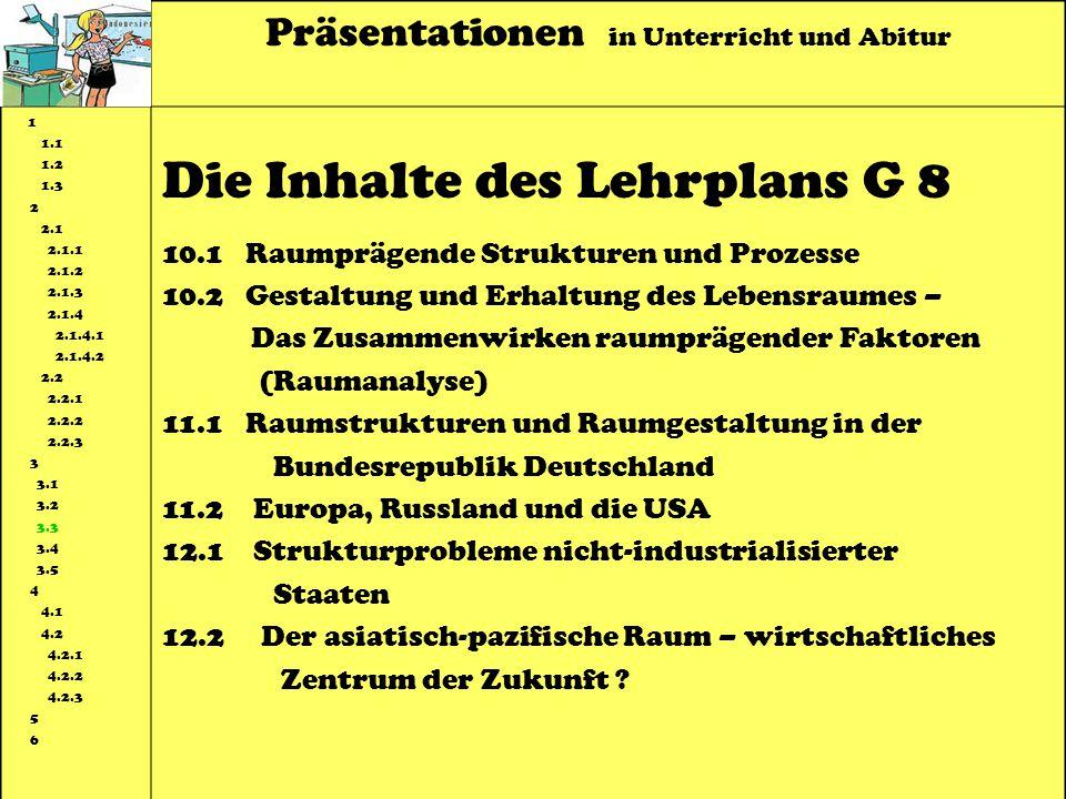 Präsentationen in Unterricht und Abitur 1 1.1 1.2 1.3 2 2.1 2.1.1 2.1.2 2.1.3 2.1.4 2.1.4.1 2.1.4.2 2.2 2.2.1 2.2.2 2.2.3 3 3.1 3.2 3.3 3.4 3.5 4 4.1 4.2 4.2.1 4.2.2 4.2.3 5 6 Die Inhalte des Lehrplans G 8 10.1 Raumprägende Strukturen und Prozesse 10.2 Gestaltung und Erhaltung des Lebensraumes – Das Zusammenwirken raumprägender Faktoren (Raumanalyse) 11.1 Raumstrukturen und Raumgestaltung in der Bundesrepublik Deutschland 11.2 Europa, Russland und die USA 12.1 Strukturprobleme nicht-industrialisierter Staaten 12.2 Der asiatisch-pazifische Raum – wirtschaftliches Zentrum der Zukunft ?
