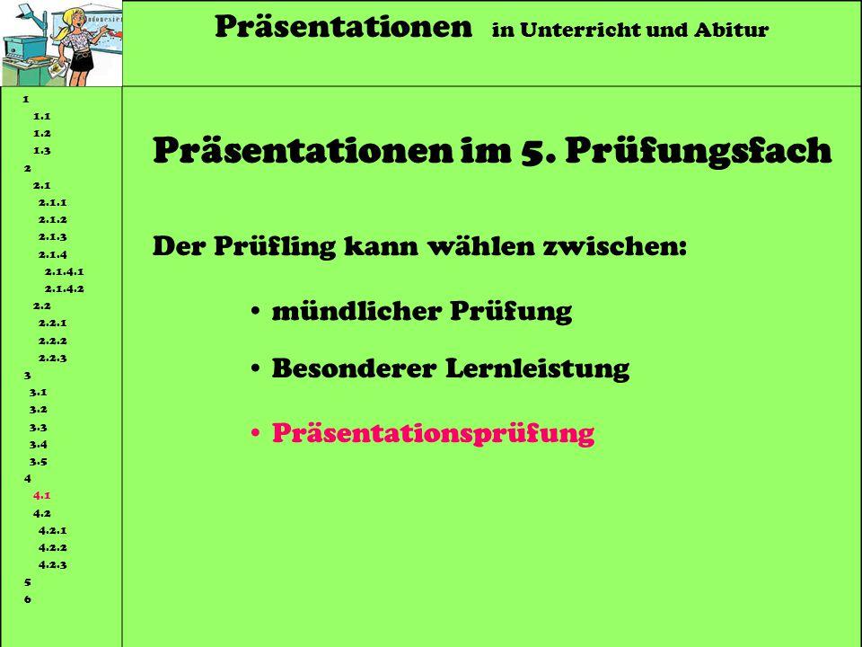 Präsentationen in Unterricht und Abitur 1 1.1 1.2 1.3 2 2.1 2.1.1 2.1.2 2.1.3 2.1.4 2.1.4.1 2.1.4.2 2.2 2.2.1 2.2.2 2.2.3 3 3.1 3.2 3.3 3.4 3.5 4 4.1 4.2 4.2.1 4.2.2 4.2.3 5 6 Präsentationen im 5.