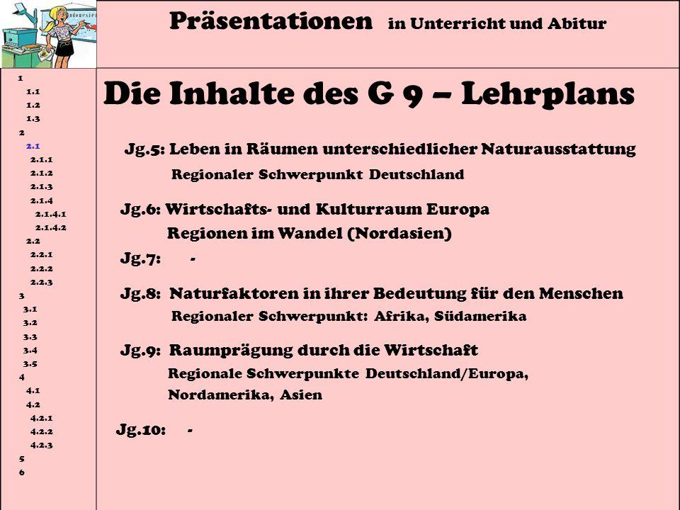 Präsentationen in Unterricht und Abitur 1 1.1 1.2 1.3 2 2.1 2.1.1 2.1.2 2.1.3 2.1.4 2.1.4.1 2.1.4.2 2.2 2.2.1 2.2.2 2.2.3 3 3.1 3.2 3.3 3.4 3.5 4 4.1 4.2 4.2.1 4.2.2 4.2.3 5 6 Die Inhalte des G 9 – Lehrplans Jg.5: Leben in Räumen unterschiedlicher Naturausstattung Regionaler Schwerpunkt Deutschland Jg.6: Wirtschafts- und Kulturraum Europa Regionen im Wandel (Nordasien) Jg.7: - Jg.8: Naturfaktoren in ihrer Bedeutung für den Menschen Regionaler Schwerpunkt: Afrika, Südamerika Jg.9: Raumprägung durch die Wirtschaft Regionale Schwerpunkte Deutschland/Europa, Nordamerika, Asien Jg.10: -