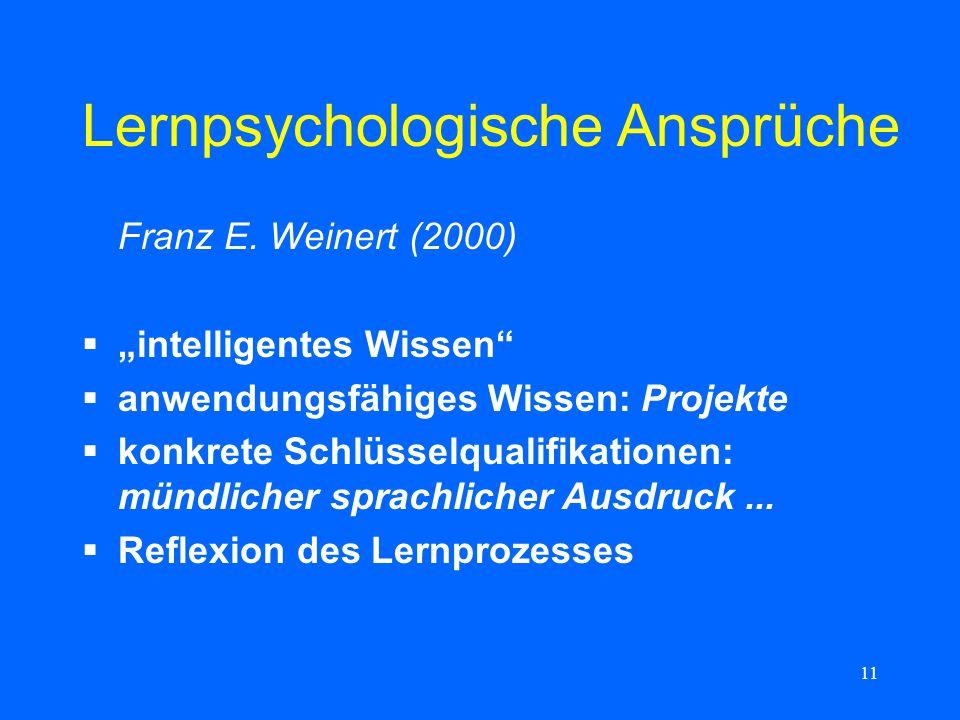 11 Lernpsychologische Ansprüche Franz E. Weinert (2000) intelligentes Wissen anwendungsfähiges Wissen: Projekte konkrete Schlüsselqualifikationen: mün