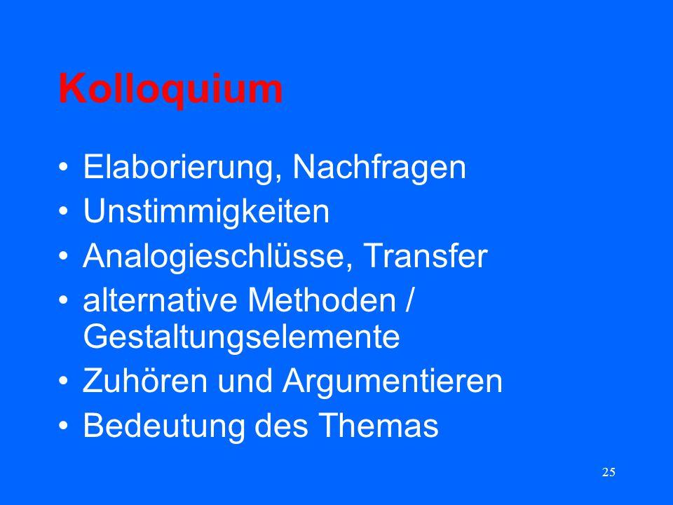 25 Kolloquium Elaborierung, Nachfragen Unstimmigkeiten Analogieschlüsse, Transfer alternative Methoden / Gestaltungselemente Zuhören und Argumentieren