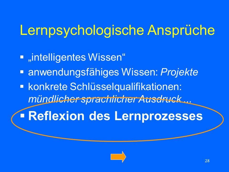 28 Lernpsychologische Ansprüche intelligentes Wissen anwendungsfähiges Wissen: Projekte konkrete Schlüsselqualifikationen: mündlicher sprachlicher Aus
