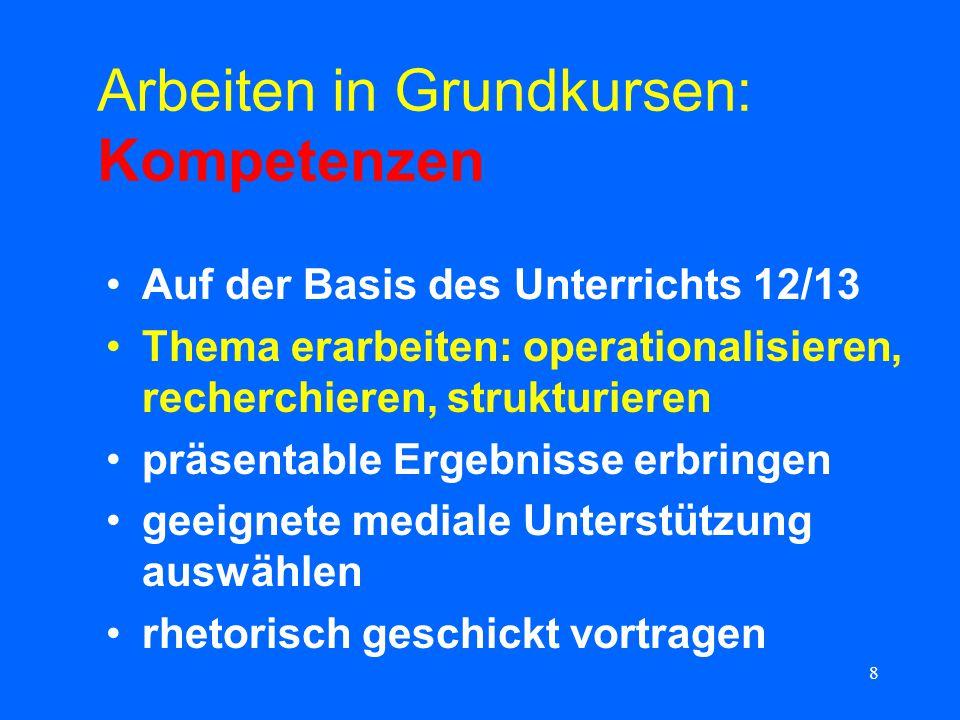 8 Arbeiten in Grundkursen: Kompetenzen Auf der Basis des Unterrichts 12/13 Thema erarbeiten: operationalisieren, recherchieren, strukturieren präsenta
