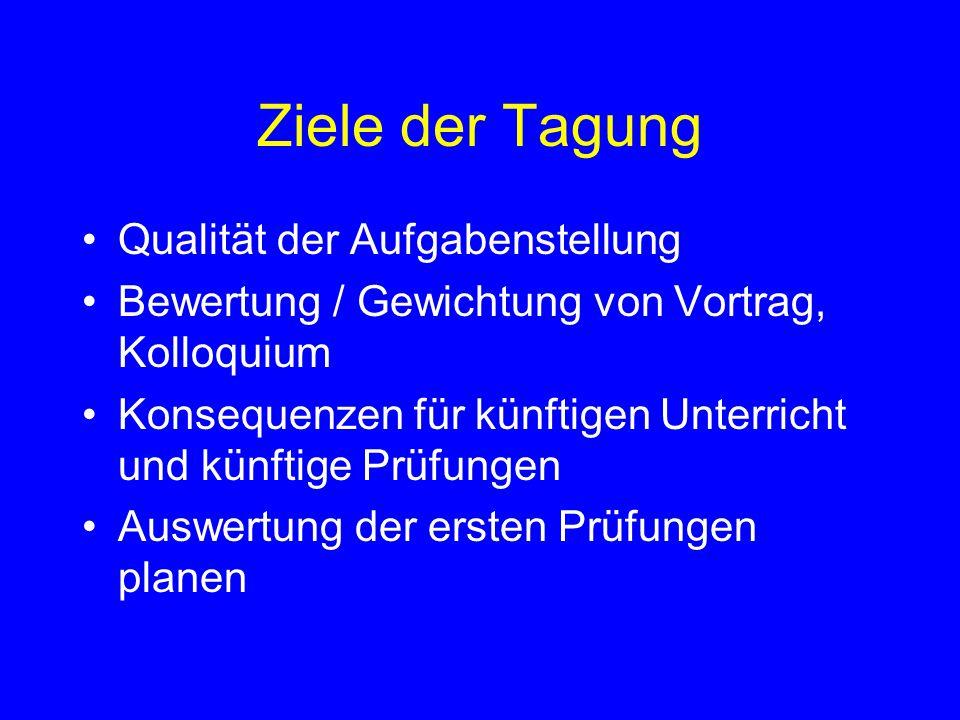 Ziele der Tagung Qualität der Aufgabenstellung Bewertung / Gewichtung von Vortrag, Kolloquium Konsequenzen für künftigen Unterricht und künftige Prüfungen Auswertung der ersten Prüfungen planen