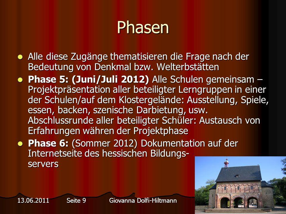 Giovanna Dolfi-Hiltmann13.06.2011 Seite 9 Phasen Alle diese Zugänge thematisieren die Frage nach der Bedeutung von Denkmal bzw.