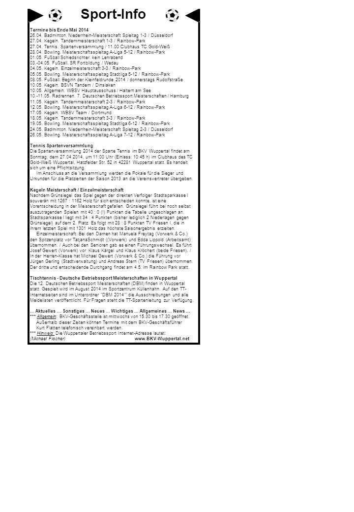 Termine bis Ende Mai 2014 26.04. Badminton. Niederrhein-Meisterschaft Spieltag 1-3 / Düsseldorf 27.04. Kegeln. Tandemmeisterschaft 1-3 / Rainbow-Park