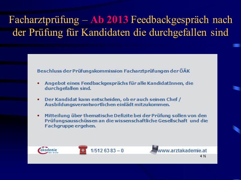 Facharztprüfung – Ab 2013 Feedbackgespräch nach der Prüfung für Kandidaten die durchgefallen sind