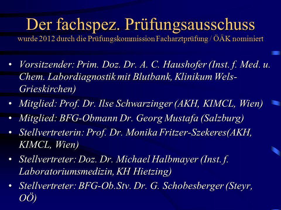 Der fachspez. Prüfungsausschuss wurde 2012 durch die Prüfungskommission Facharztprüfung / ÖÄK nominiert Vorsitzender: Prim. Doz. Dr. A. C. Haushofer (