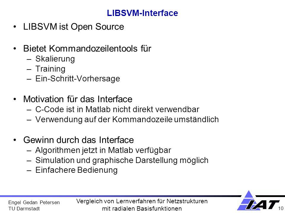 Engel Gedan Petersen TU Darmstadt 10 Vergleich von Lernverfahren für Netzstrukturen mit radialen Basisfunktionen LIBSVM-Interface LIBSVM ist Open Sour