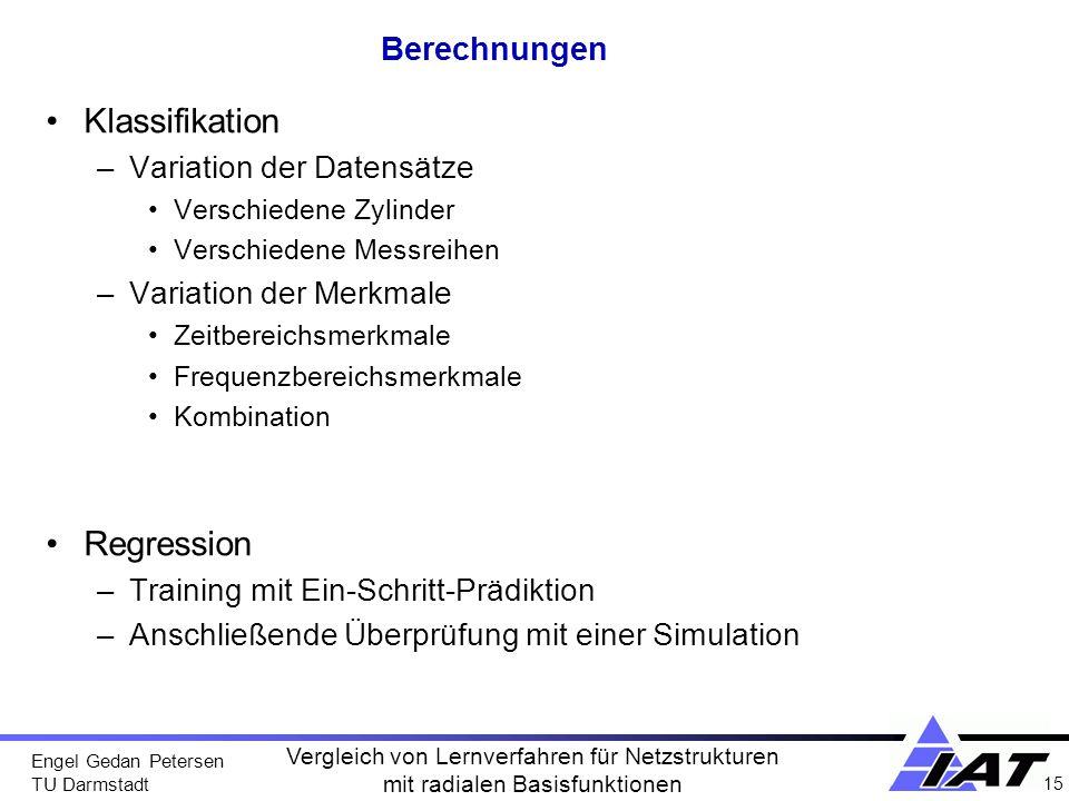Engel Gedan Petersen TU Darmstadt 15 Vergleich von Lernverfahren für Netzstrukturen mit radialen Basisfunktionen Berechnungen Klassifikation –Variatio
