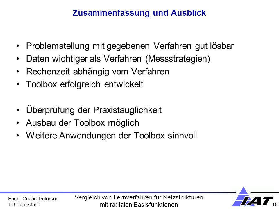 Engel Gedan Petersen TU Darmstadt 18 Vergleich von Lernverfahren für Netzstrukturen mit radialen Basisfunktionen Zusammenfassung und Ausblick Problems