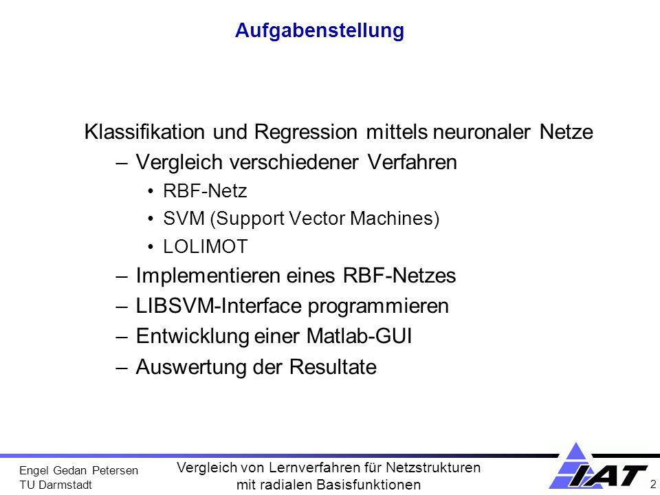 Engel Gedan Petersen TU Darmstadt 2 Vergleich von Lernverfahren für Netzstrukturen mit radialen Basisfunktionen Aufgabenstellung Klassifikation und Re