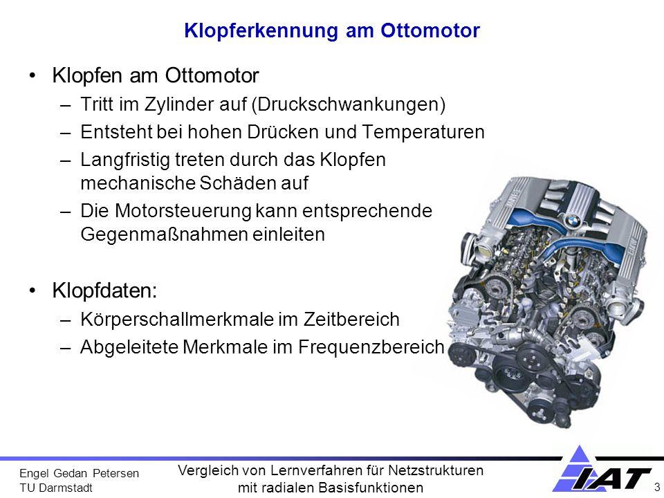 Engel Gedan Petersen TU Darmstadt 3 Vergleich von Lernverfahren für Netzstrukturen mit radialen Basisfunktionen Klopferkennung am Ottomotor Klopfen am