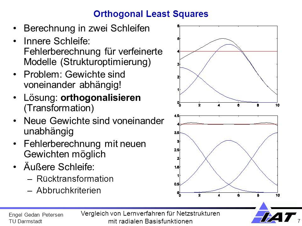 Engel Gedan Petersen TU Darmstadt 8 Vergleich von Lernverfahren für Netzstrukturen mit radialen Basisfunktionen SVM-Klassifikation Separation von Daten in Klassen –Berechnung trennender Hyperebenen Optimale Separation durch –Maximierung des Spaltabstands zu beiden Klassen Vektoren auf dem Spalt sind Stützpunkte der Ebene Support-Vektoren max x1x1 x2x2