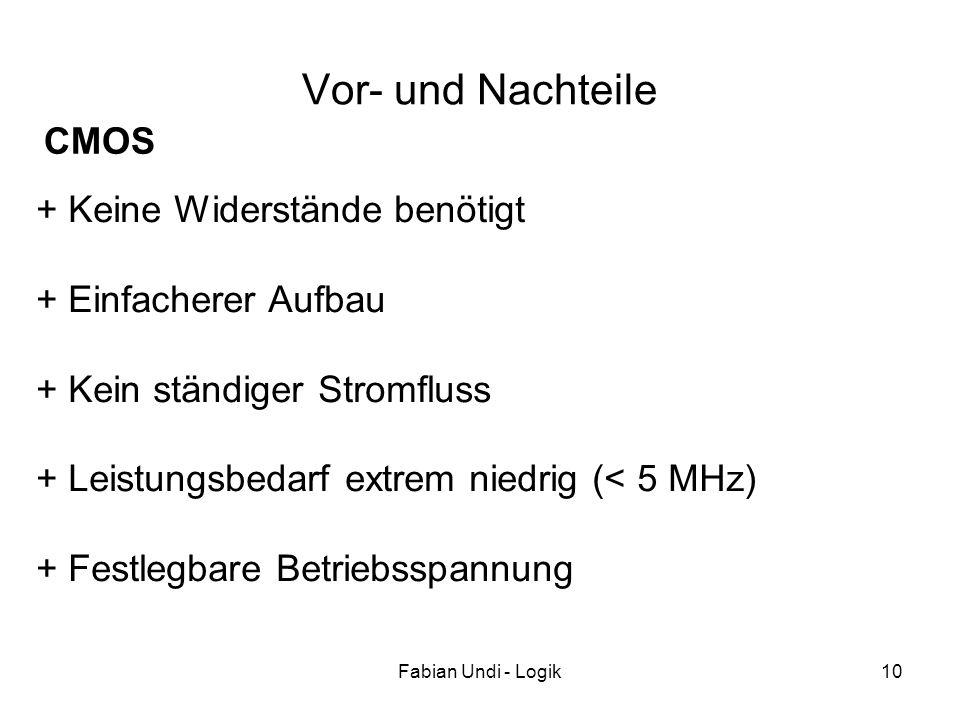 Fabian Undi - Logik10 + Keine Widerstände benötigt + Einfacherer Aufbau + Kein ständiger Stromfluss + Leistungsbedarf extrem niedrig (< 5 MHz) + Festl
