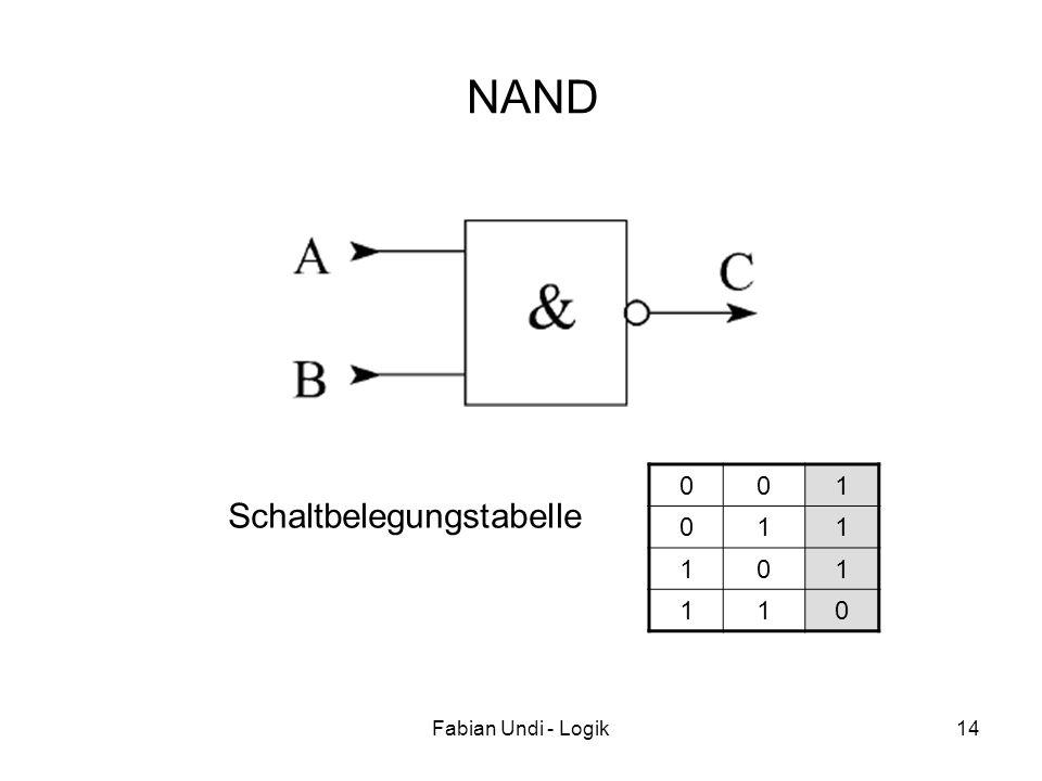 Fabian Undi - Logik14 NAND 001 011 101 110 Schaltbelegungstabelle