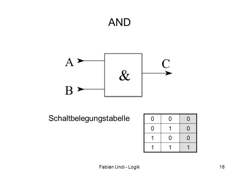 Fabian Undi - Logik16 AND 000 010 100 111 Schaltbelegungstabelle