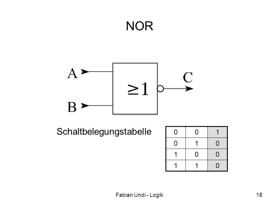 Fabian Undi - Logik18 NOR 001 010 100 110 Schaltbelegungstabelle