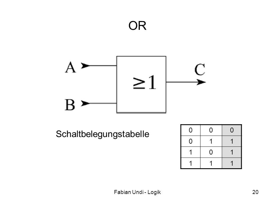 Fabian Undi - Logik20 OR 000 011 101 111 Schaltbelegungstabelle