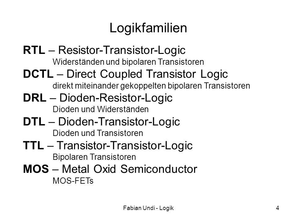 Fabian Undi - Logik4 Logikfamilien RTL – Resistor-Transistor-Logic Widerständen und bipolaren Transistoren DCTL – Direct Coupled Transistor Logic dire