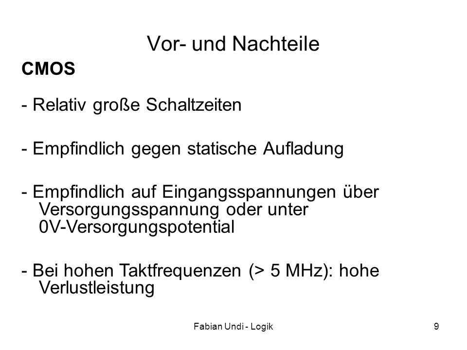 Fabian Undi - Logik9 Vor- und Nachteile - Relativ große Schaltzeiten - Empfindlich gegen statische Aufladung - Empfindlich auf Eingangsspannungen über