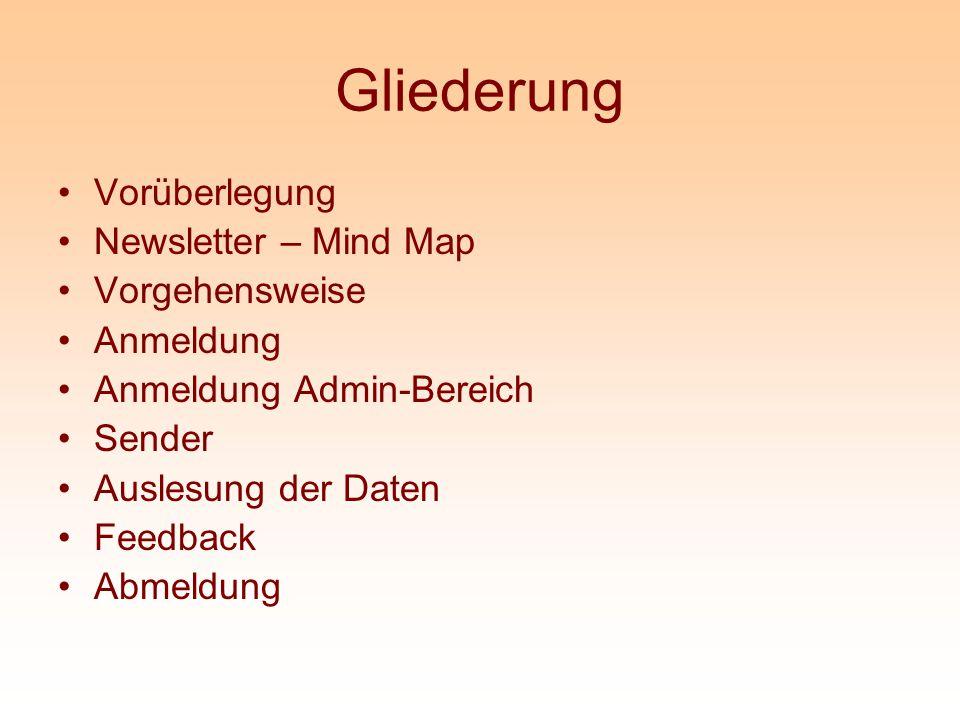 Gliederung Vorüberlegung Newsletter – Mind Map Vorgehensweise Anmeldung Anmeldung Admin-Bereich Sender Auslesung der Daten Feedback Abmeldung