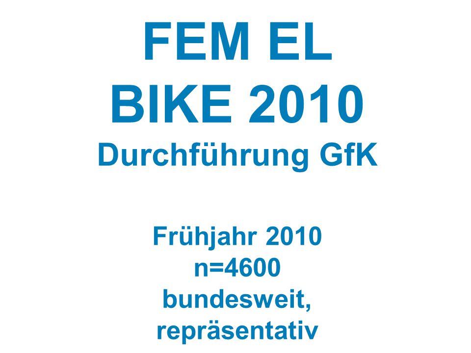 FEM EL BIKE 2010 Durchführung GfK Frühjahr 2010 n=4600 bundesweit, repräsentativ