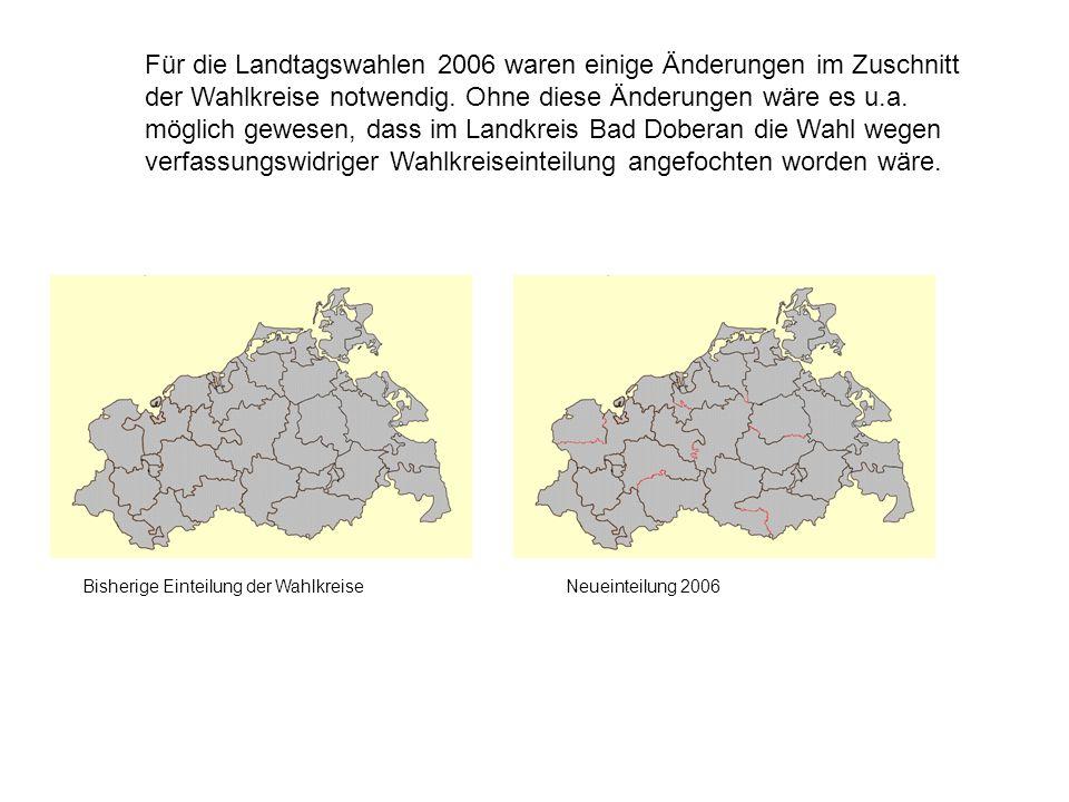 Für die Landtagswahlen 2006 waren einige Änderungen im Zuschnitt der Wahlkreise notwendig.