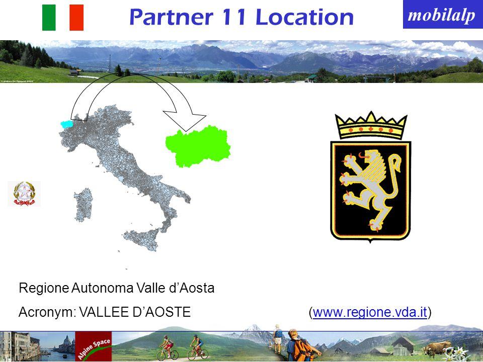mobilalp Partner 11 Location Regione Autonoma Valle dAosta Acronym: VALLEE DAOSTE(www.regione.vda.it)