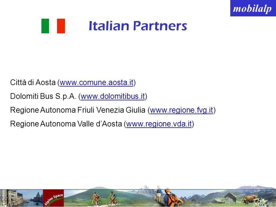 mobilalp Italian Partners Città di Aosta (www.comune.aosta.it) Dolomiti Bus S.p.A.