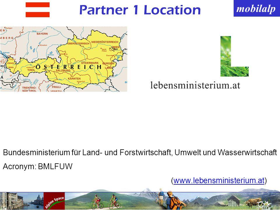 mobilalp Partner 1 Location Bundesministerium für Land- und Forstwirtschaft, Umwelt und Wasserwirtschaft Acronym: BMLFUW (www.lebensministerium.at)