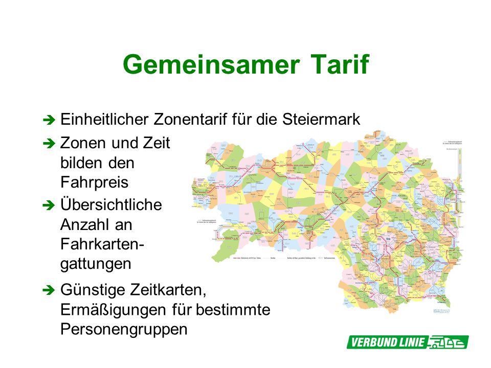 Gemeinsamer Tarif Einheitlicher Zonentarif für die Steiermark Zonen und Zeit bilden den Fahrpreis Übersichtliche Anzahl an Fahrkarten- gattungen Günstige Zeitkarten, Ermäßigungen für bestimmte Personengruppen