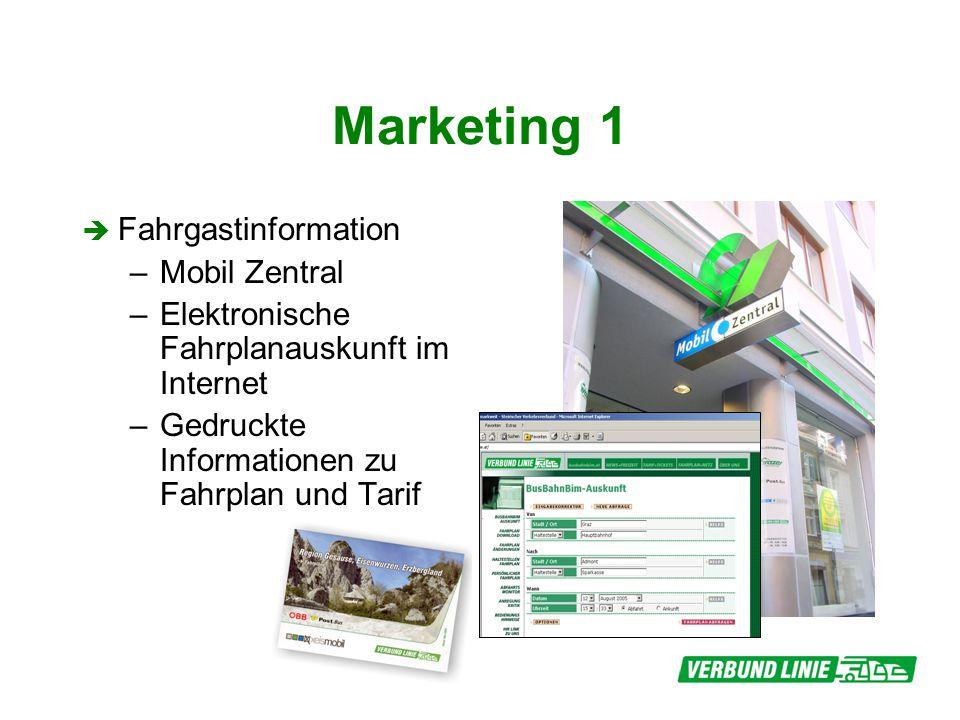 Marketing 1 Fahrgastinformation –Mobil Zentral –Elektronische Fahrplanauskunft im Internet –Gedruckte Informationen zu Fahrplan und Tarif